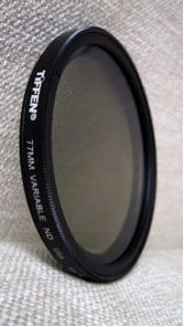 Close up of the Tiffen ND filter, 77mm