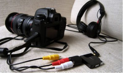 Canon 6D with extra headphone monitoring kit