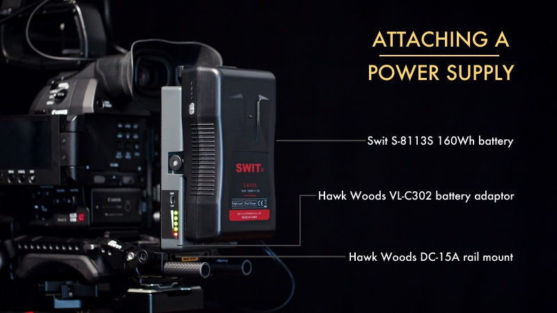 Build a Shoulder Rig for the Canon C100 Mark II: Battery Rig annotation
