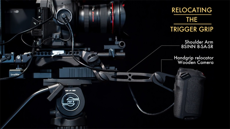Build a Shoulder Rig for the Canon C100 Mark II: Grip parts annotation