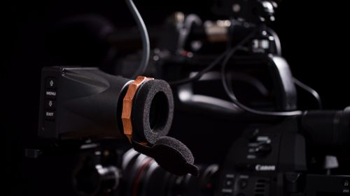 Build a Shoulder Rig for the Canon C100 Mark II: Portkeys EVF on C100 rig